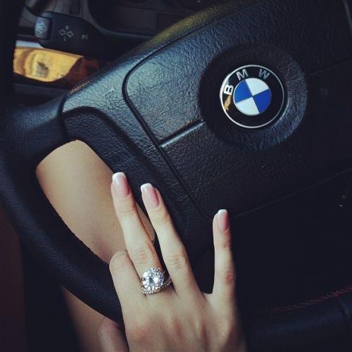 girl, bmw, ring, car, nails