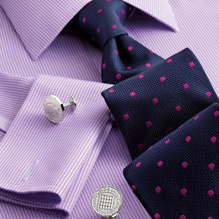 Lilac twill puppytooth non-iron Classic fit shirt | Men's formal shirts from Charles Tyrwhitt, Jermyn Street, London