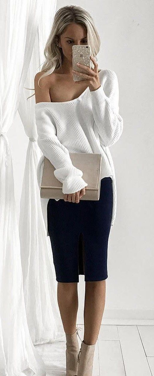 #fall #outfits White One Shoulder Knit + Black Pencil Skirt