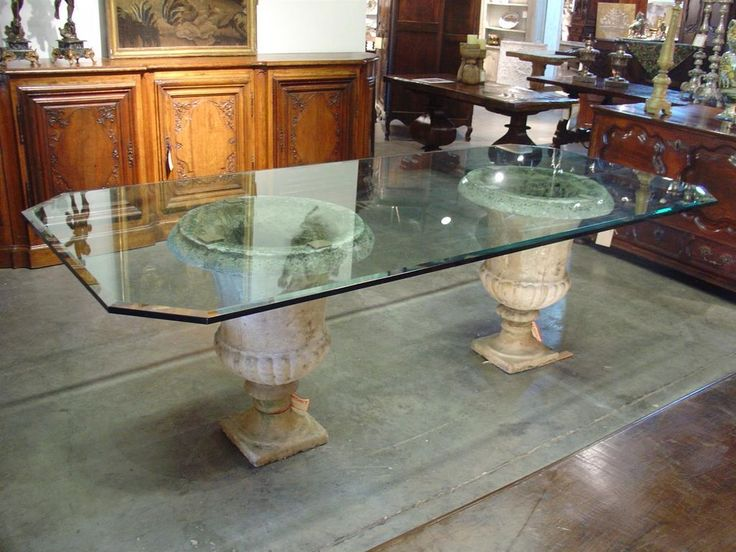 Choosing Glass Table Top For Your Home Beveled Glass Table Top On Antique French Stone Urns Bgealz Tempered Glass Table Top Glass Top Dining Table Dining Table