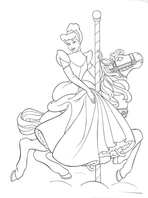 fantasyland carousel horse cinderella princess coloring pagesdisney