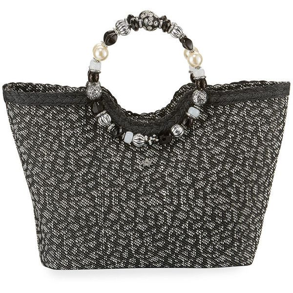 Cappelli Straworld Beaded Ring Animal-Print Straw Tote Bag ($49) ❤ liked on Polyvore featuring bags, handbags, tote bags, black, straw purse, animal print handbag, animal print purses, zipper tote and zip top tote