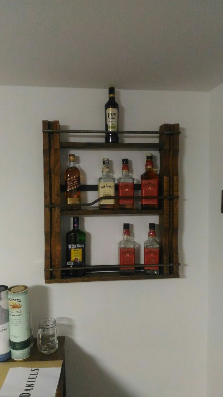 Wooden whiskey rack