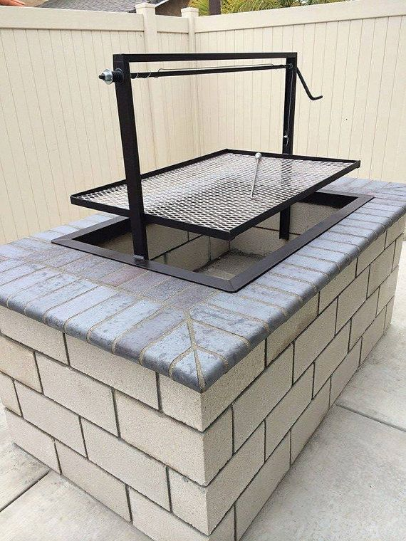 "Santa Maria BBQ Grill. Designed and Fabricated by JD Fabrications. Our pits are completely welded together there are no bolts. Our drop in units can be customized to your needs. Call us if you do not see what you want.  Listing price is for a steel 36 by 24 like the first image with blue brick. Features: • 36 by 24 wide • 2.5"" x 2.5"" x 3/16"" Angle Iron constructed frame. • Adjustable Grill Height with cable wire that is 3mm aircraft cable w/adjustable wire clamps • Channel guide is ..."