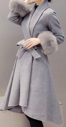 Faux Fur Cuffs Belted Asymmetric Hem Grey Coat