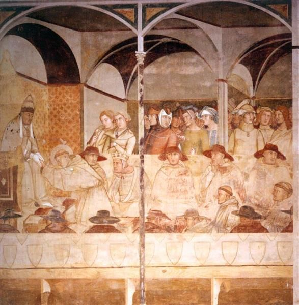 Pope Boniface VIII Receiving St Louis of Toulouse as a Novice, 1327 - Ambrogio Lorenzetti