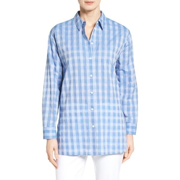 Women's Nordstrom Collection Button Back Oversize Tunic ($229) ❤ liked on Polyvore featuring tops, tunics, blue sheer gingham, blue checkered shirt, sheer tunic, blue checked shirt, sheer shirt and blue top