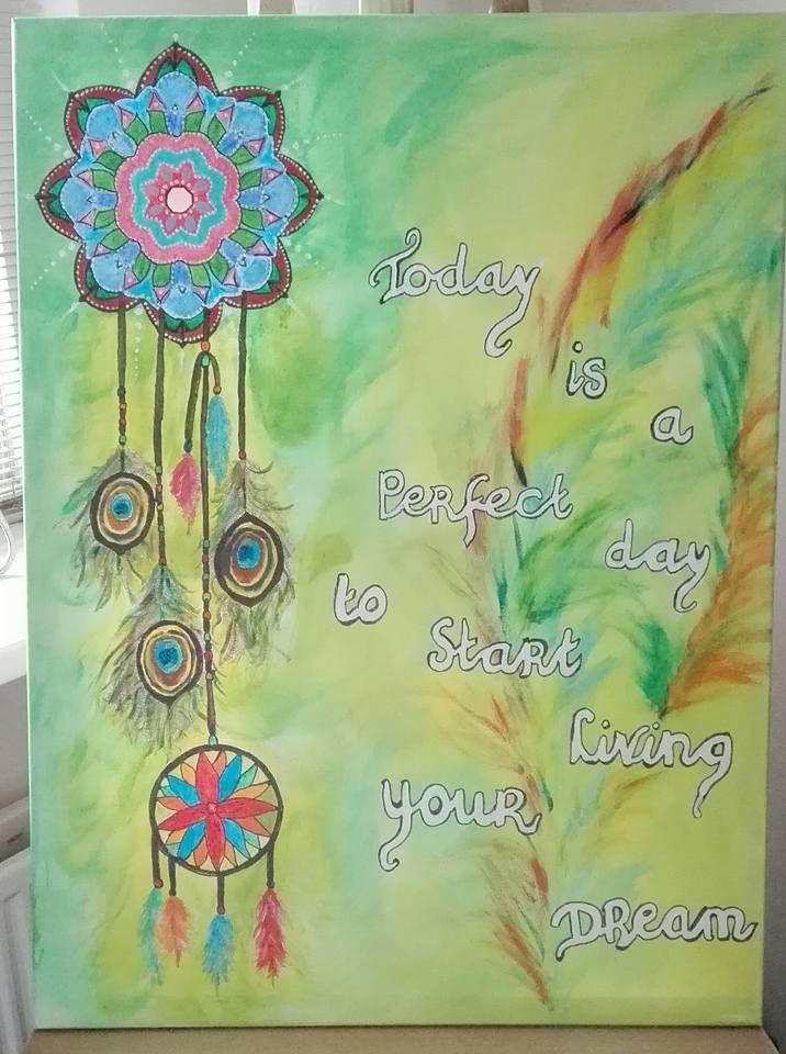Mijn 1e schilderij. Veren en dromenvanger.
