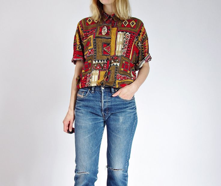 80s Caliche Boxy Nature Earth Style Colors Women Shirt Made in USA / Size M/L