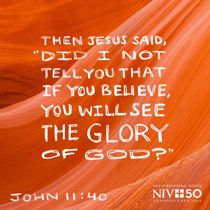 Then Jesus Said Did I Not Tell You That If You Believe You Will See The Glory Of
