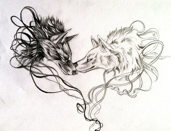 Two Wolves Tattoo by Lucky978.deviantart.com on @deviantART  Garretts idea