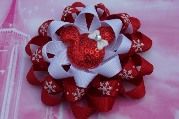 Red Christmas Hair Bow Loopy Flower Hair Bow Minnie by AmazinGems, $5.90