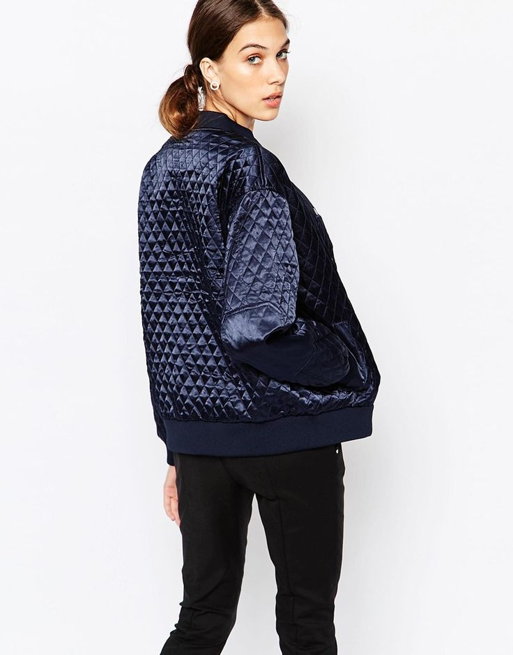 Image 2 ofGanni Quilted Bomber Jacket in Satin