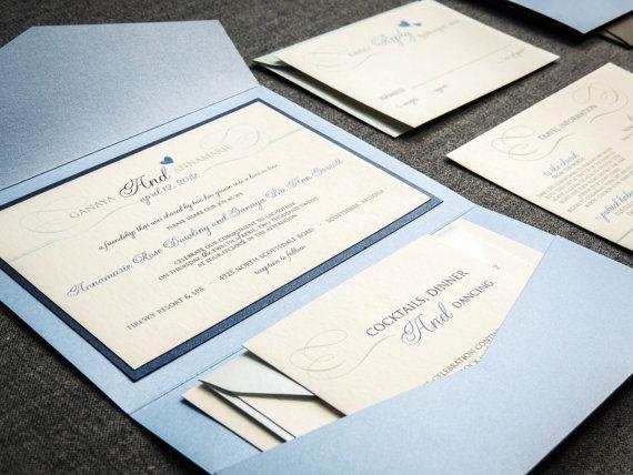 Light Blue and Navy Romantic Flourish Pocketfold Invitation with cardstock belly band embellishment - sample $5.95