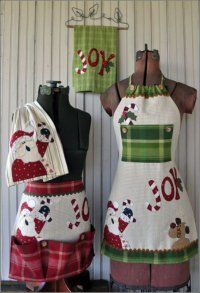 Just 2 Tea Towels Christmas Set (Pattern) from The Wooden Bear Set has directions for making a long apron, short apron, and tea towels for display. Each apron is made using ONLY TWO TEA TOWELS!