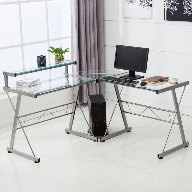 L Shape Corner Computer Desk Pc Glass Laptop Table Workstation Home Office Study Computer Desk With Shelves Corner Computer Desk Glass Computer Desks