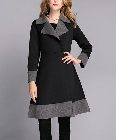 Black & Gray Two-Tone A-Line Coat - Women by Jerry T Fashion #zulily #zulilyfinds