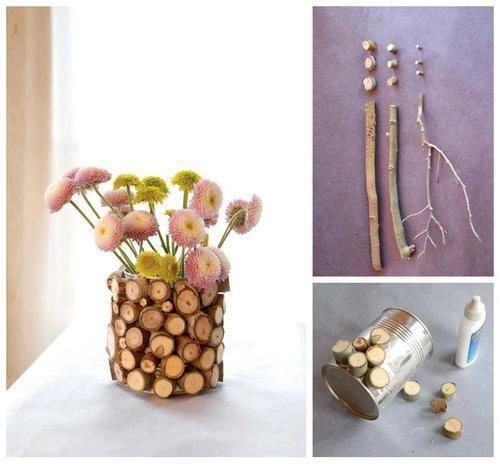 vase nature en boîte de conserve et rondelles de bois / #DIY / #Upcycling / #Récup