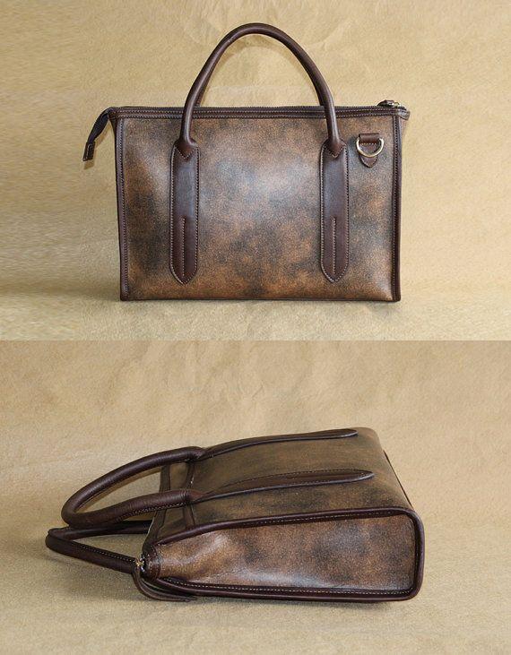 Men's leather bag / Briefcase / shoulder bag / Messenger / Laptop / Men's Bag--T014