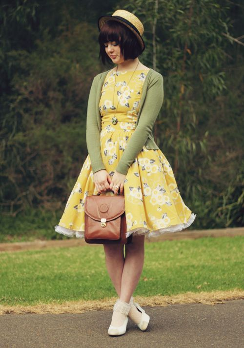 Vintage floral dress, green cardigan, ruffled ...