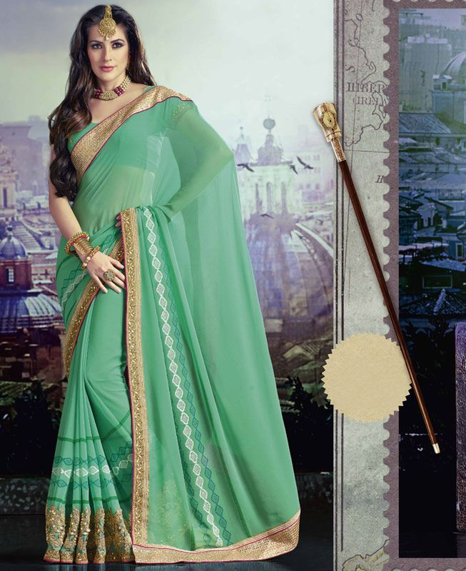 Buy Gorgeous Green Georgette Saree online at https://www.a1designerwear.com/gorgeous-green-georgette-sarees-3 Price: $39.88 USD