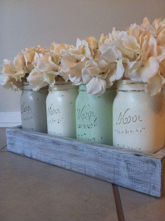 Rustic Mason Jar and wood box table Centerpiece wedding shabby chic distressed vase Green/Brown. $35.00, via Etsy.