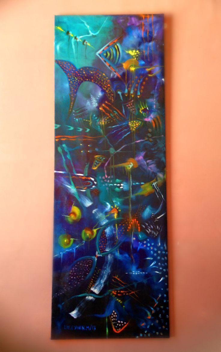 Título: sombras en la noche  Autor: luz Esther monsalve  Dimensión: 2 x 70  Ficha técnica: óleo sobre lienzo  Año: 2013  Vertical