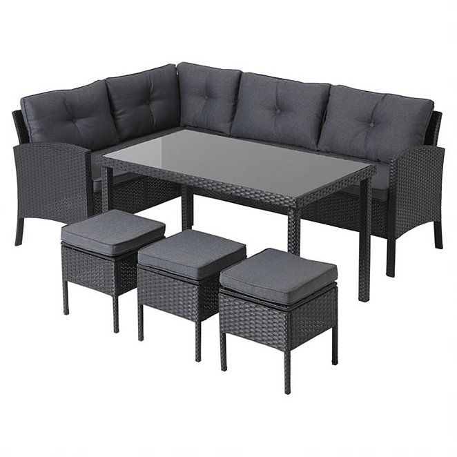 Black Orlando Outdoor Corner Sofa Dining Set 5 Piece Outdoor Garden George In 2020 Corner Garden Furniture Furniture Outdoor Furniture Sets