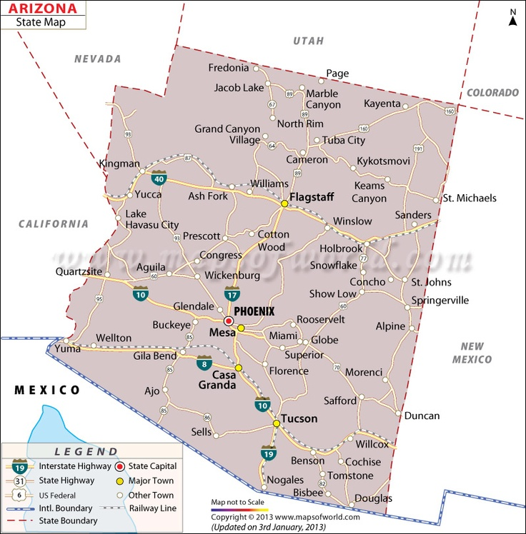 State Map Of Arizona US States Pinterest Capital City And City - Arizona state map with counties