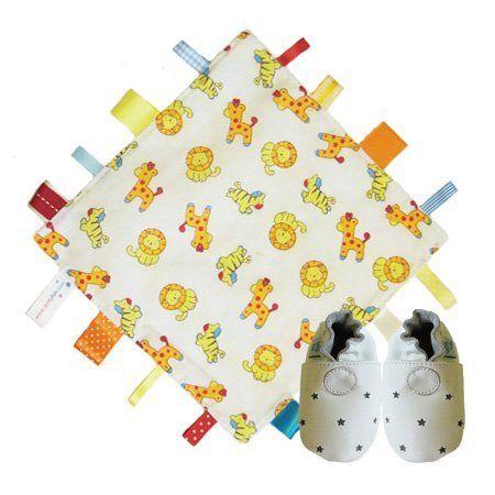 Dotty Fish Tierdecke Steppdecke & weiße Sterne weiche Leder Babyschuhe Geschenkset. Unisex. Dotty Fish.
