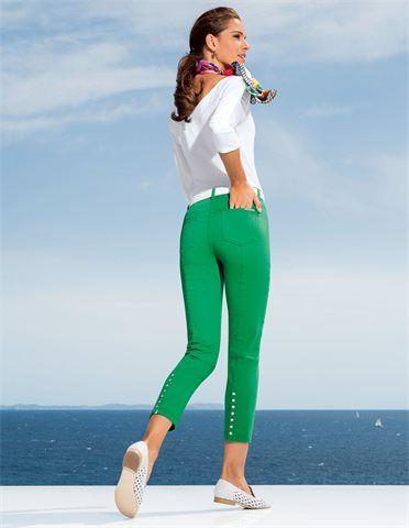 Schmale, schlichte 7/8-Jeans, Damen Mokassins aus geflochtenem Leder