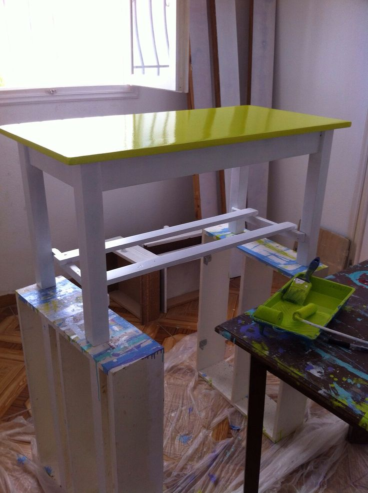 After sanding the furniture, give a coat of primer and finally choose paint colors and go!