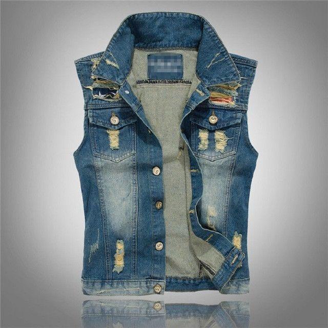 Sizes M-3X Denim Jeans Vest Men Letter Waistcoat Hole Washed Jeans Denim