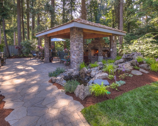 Covered Fireplace W Seating Area. Outdoor ...