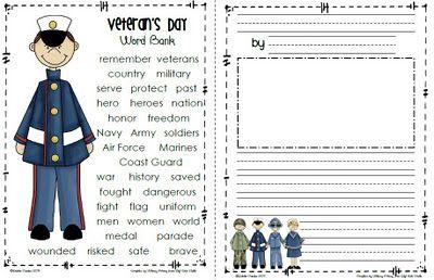 Sailing Through 1st Grade: Veteran's Day Freebie