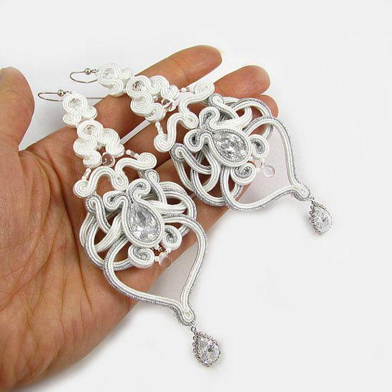 Soutache earrings WEDDING BRIDAL EARRINGS long by byPiLLowDesign