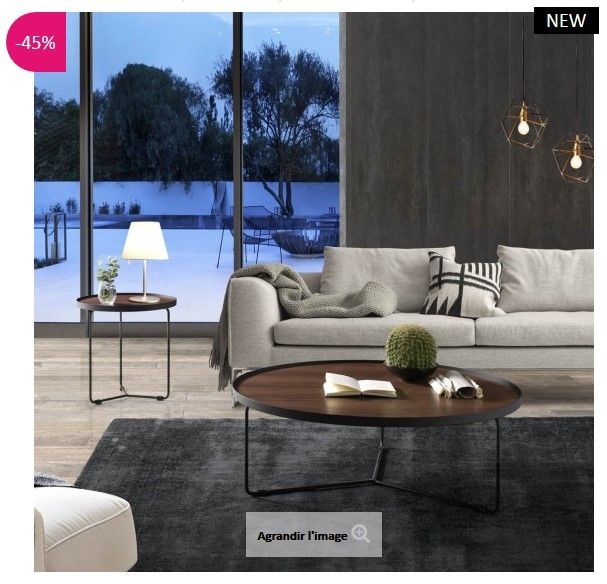 table basse design ronde noyer cabrera atylia pinterest meuble pas cher table basse. Black Bedroom Furniture Sets. Home Design Ideas