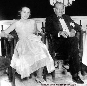 Atatürk with his daughter 1930