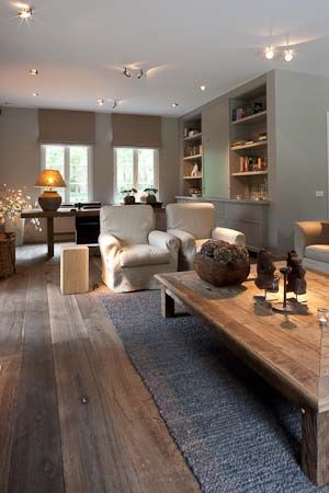 Love the dark wooden floors and grey carpets