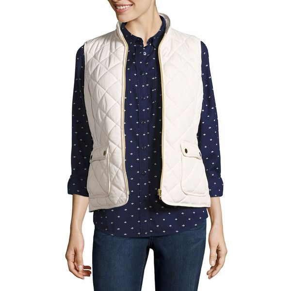 St. John's Bay Quilted Puffer Vest ($25) ❤ liked on Polyvore featuring outerwear, vests, puffy vests, white quilted vest, white waistcoat, white puffy vest and quilted puffy vest
