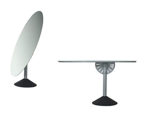 Psiche by Philippe Starck Table/mirror. Structure: dark gray painted cast iron base with antioxidant protection finish. Ribbed aluminum column. Painted embossed aluminum rotating mechanism. Folding mirrored glass oval top with painted embossed aluminum fixing plate. Indoor use only.