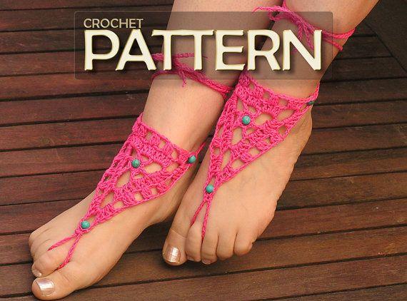 BAREFOOT SANDALS, Crochet pdf PATTERN, Gypsy Lolita Anklets, Beach Wedding Nude Shoes, Hippie Bohemian Sandals, Bridal Foot Jewelry, Pool