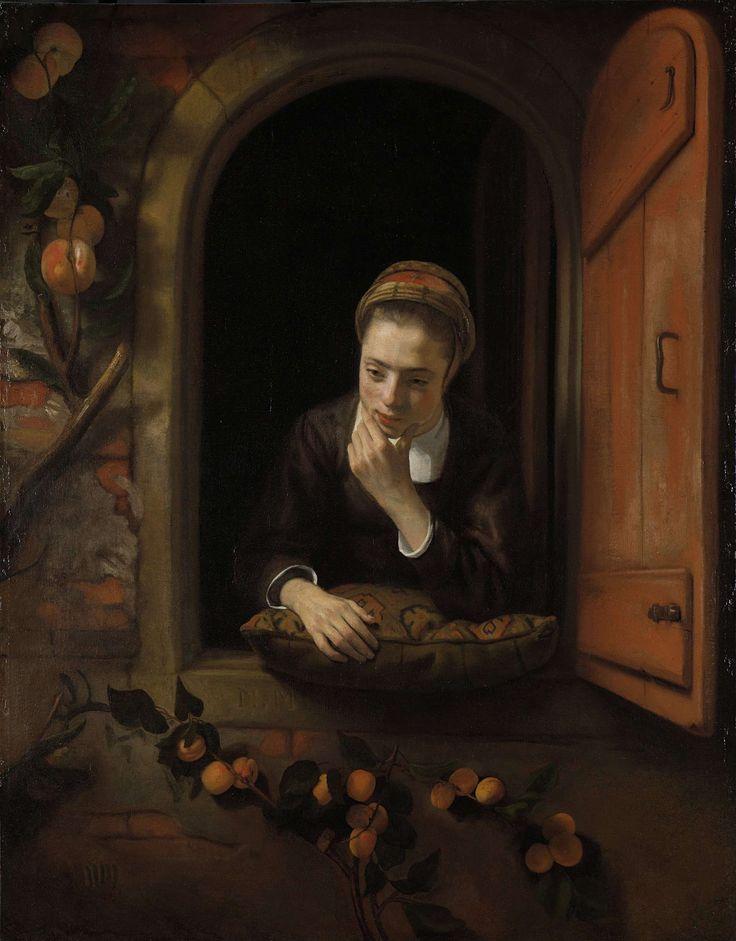 Meisje aan het venster, bekend als 'De peinzende', Nicolaes Maes, 1650 - 1660