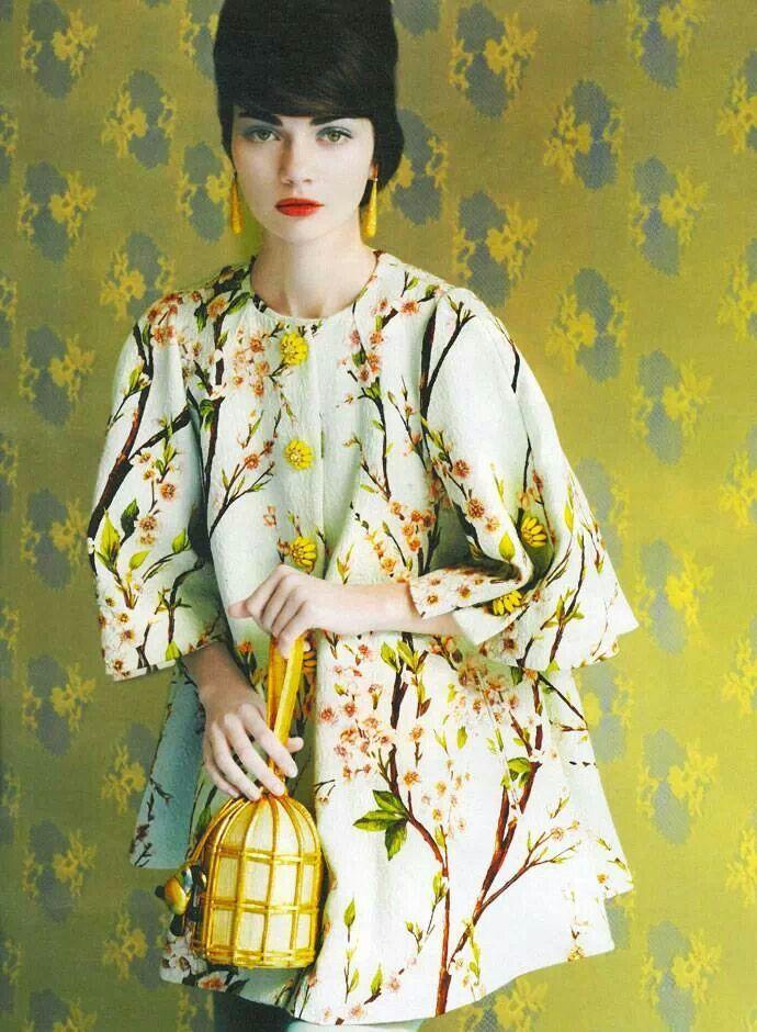 Floral Inspiration: Almond blossom in Harper Bazaar by D&G. #inbloom #florals #harpersbazaar