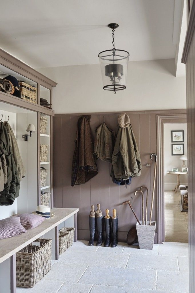 Lovely classic boot room in a 16th Century Family Manor. Design by Sims Hilditch.