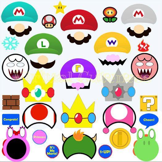 Nintendo Super Mario Photo Booth Props - Mario Bros, Mario Photo Props,Wedding Photo Prop, Mario Birthday, Printable Cutouts Videogame Party