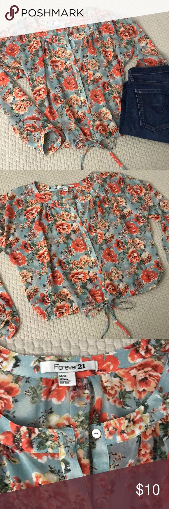 Forever 21 Floral Top Floral forever 21 boho tie waist button up blouse. Blue with pink floral pattern. EUC. Loose, relaxed fit. Forever 21 Tops Blouses