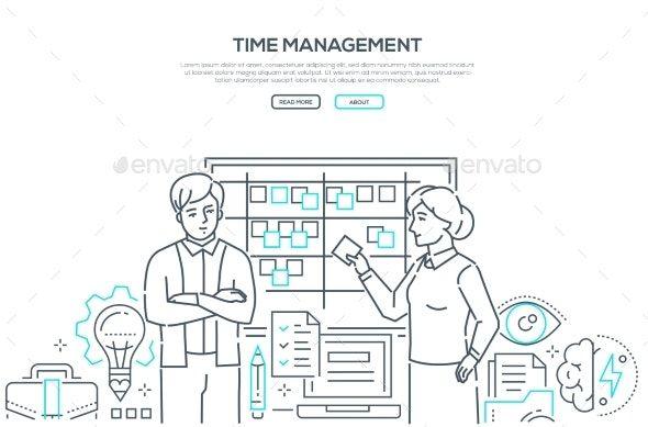 Time Management Modern Line Design Style Banner Ad Modern Sponsored Management Time Line