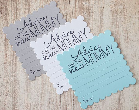 Advice for the new Mommy cards in a baby blue, grey and white for baby showers. You will receive a mix of the 3 colors. These cards are lots of fun to