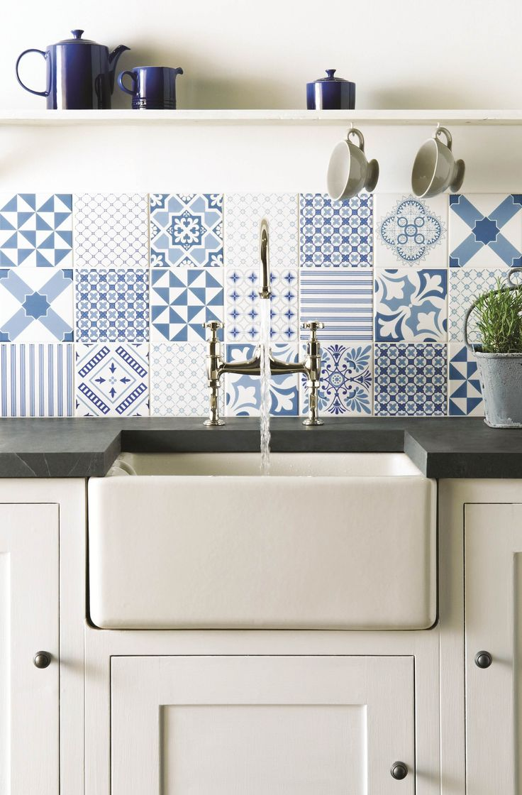 Fresh blue Tapestry patchwork tiles from the Odyssey collection by Original Style. The tradition of woven and embroidered tapestry dates back for centuries. But that doesn't mean the idea is old-fashioned. Far from it - this collection of tiles inspired by stitched and embroidered fabrics looks right up to date. Combine into a patchwork to make a crisp fresh panel for a kitchen or as a bathroom splashback.